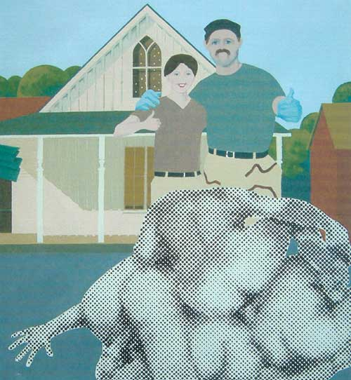 Gerald Laing, <i>American Gothic</i> 2004. Oil on canvas 36 x 32 inches. 