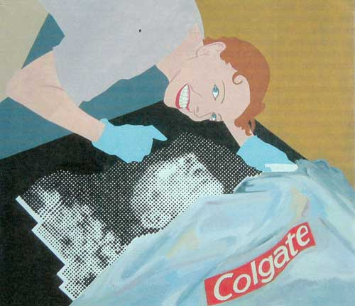 <i>Only one of them uses Colgate</i><i></i> 2004. Oil on canvas 32 x 