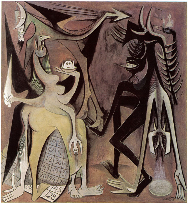 Wifredo Lam. Bélial, Emperor of the Flies, 1948. Oil on canvas, 216 x 200 cm. Private collection. © SDO Wifredo Lam.