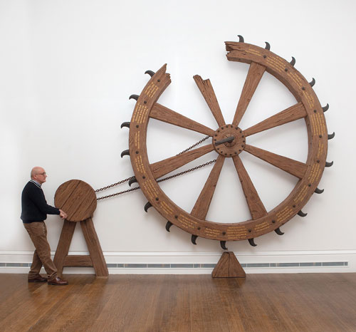 Michael Landy. Spin the Saint Catherine Wheel and Win the Crown of Martyrdom, 2013. Mixed media, 371 x 440 x 84 cm. © Michael Landy, courtesy of the Thomas Dane Gallery, London / Photograph: The National Gallery, London.