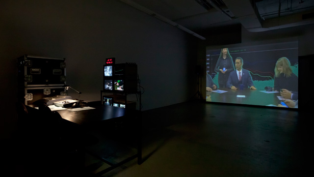 Liz Magic Laser, Absolute Event, 2013, performance and video installation, 45 min, production still, Paula Cooper Gallery, New York. Featuring actors and former congressional staffers Daniel Abse and Gary Lee Mahmoud. Photograph: Steven Probert