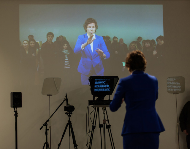 Liz Magic Laser, Stand Behind Me, 2013, performance and two-channel video, 10 min, production still, Lisson Gallery, London. Featuring dancer Ariel Freedman.