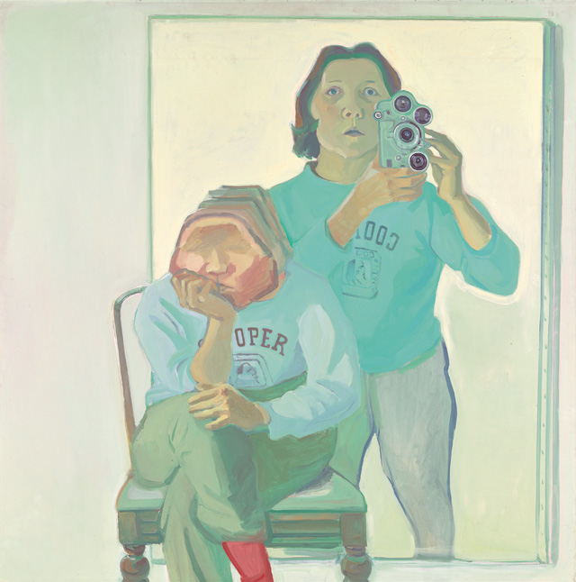 Maria Lassnig. Double Self-Portrait with Camera, 1974. Oil paint on canvas, 180 x 180 cm. © Maria Lassnig Foundation © Artothek of the Republic of Austria, permanent loan, Belvedere Vienna.