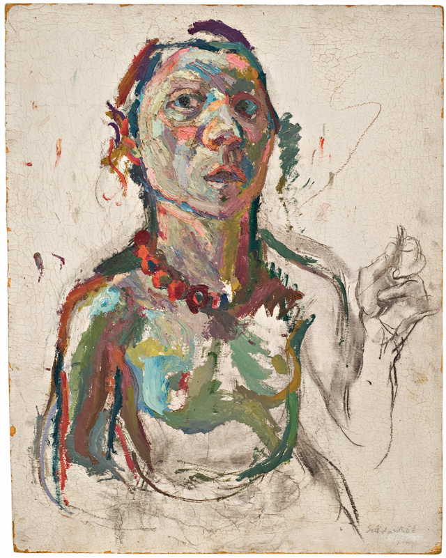 Maria Lassnig. Expressive Self-Portrait, 1945. Oil paint and charcoal on fibreboard, 60 x 48 cm. © Maria Lassnig Foundation.