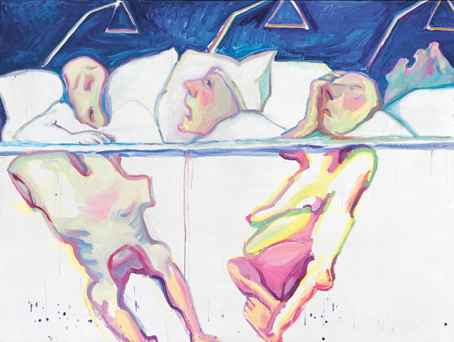 Maria Lassnig. Hospital, 2005. Oil paint on canvas, 150 x 200 cm. Private Collection. Courtesy Hauser & Wirth. © Maria Lassnig Foundation. Photograph: Archive Hauser & Wirth.