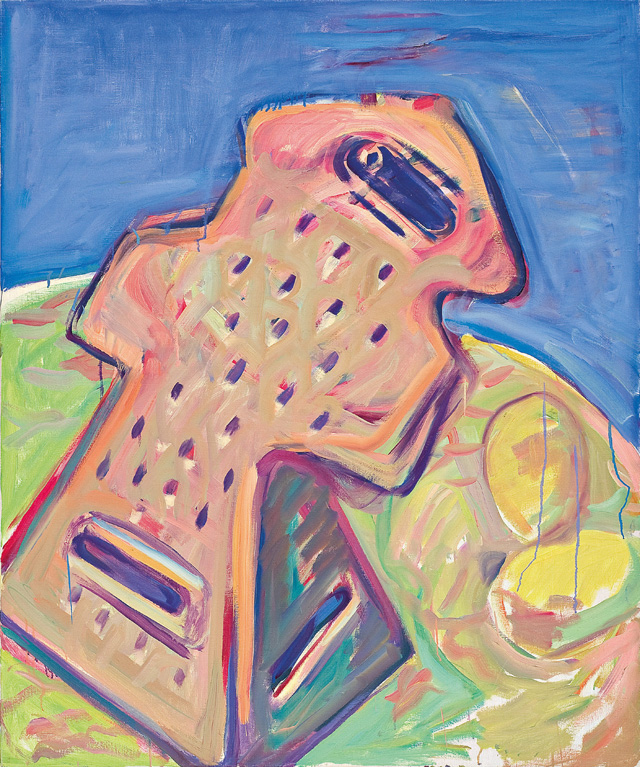 Maria Lassnig. Kitchen Bride, 1988. Oil paint on canvas, 125 x 100 cm. © Maria Lassnig Foundation.