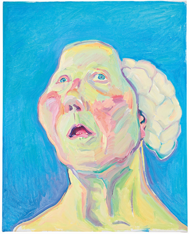 Maria Lassnig. Lady with Brain, c1990. Oil paint on canvas, 125 x 100 cm. © Maria Lassnig Foundation.