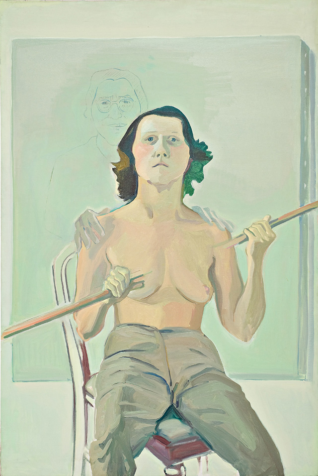 Maria Lassnig. Self-Portrait with Stick, 1971. Oil paint and charcoal on canvas, 193 x 129 cm. © Maria Lassnig Foundation.