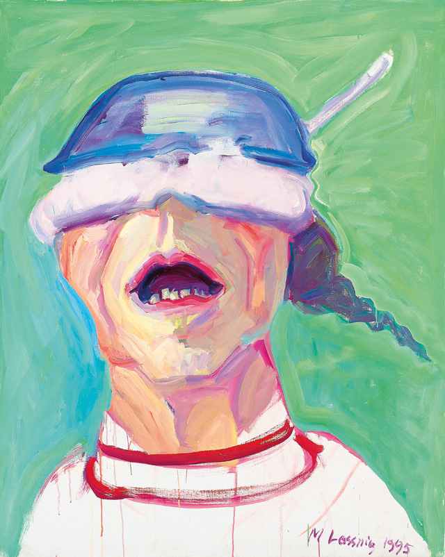Maria Lassnig. Self-Portrait with Saucepan, 1995. Oil paint on canvas, 125 x 100 cm. © Maria Lassnig Foundation.