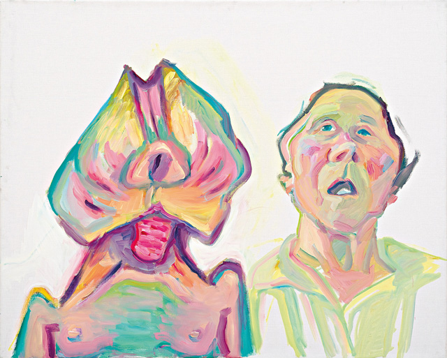 Maria Lassnig. Two Ways of Being (Double Self-portrait), 2000. Oil paint on canvas, 100 x 125 cm. © Maria Lassnig Foundation.