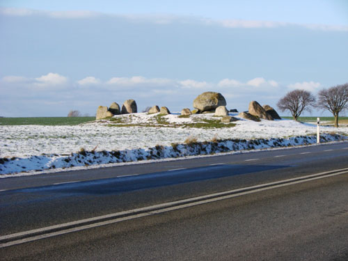 Bernard Lassus. Photograph from motorway of ancient boulders.
