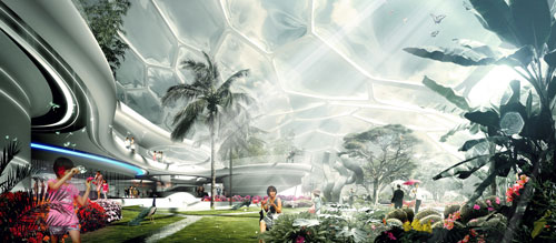 Day view of garden. Laboratory for Visionary Architecture (LAVA) Asia Pacific. <em>Home of the Future</em>, 2011.