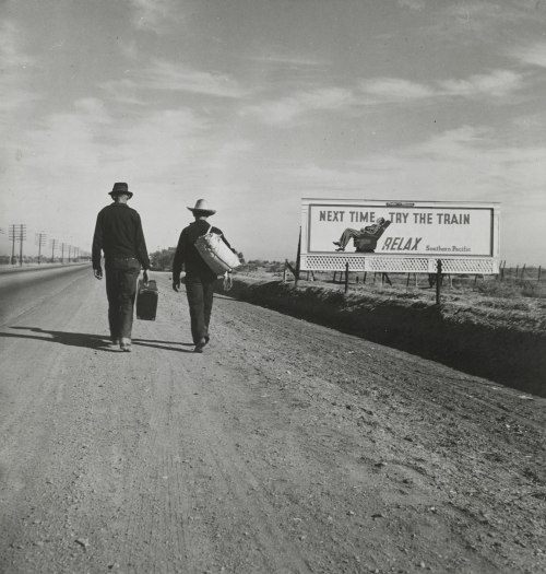 Dorothea Lange. On the Road to Los Angeles, California. 1937. Gelatin silver print, 8 1/16 x 7 3/4 in (20.4 x 19.7 cm), The Museum of Modern Art, New York. Gift of the Farm Security Administration. Digital image © The Museum of Modern Art/Licensed by SCALA / Art Resource, NY