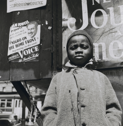 Gordon Parks. Harlem Newsboy, Harlem, New York. 1943. Gelatin silver print, 14 1/8 × 14 in (35.9 × 35.6 cm). The Museum of Modern Art, New York. Acquired through the generosity of The Friends of Education of The Museum of Modern Art and Committee on Photography Fund. Courtesy of and copyright The Gordon Parks Foundation. Digital image © The Museum of Modern Art/Licensed by SCALA / Art Resource, NY