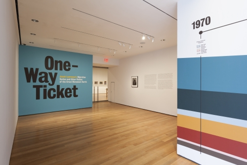 Installation view of One-Way Ticket: Jacob Lawrence's Migration Series and Other Visions of the Great Movement North, The Museum of Modern Art, April 3–September 7, 2015. © 2015 The Museum of Modern Art. Photograph: Jonathan Muzikar.