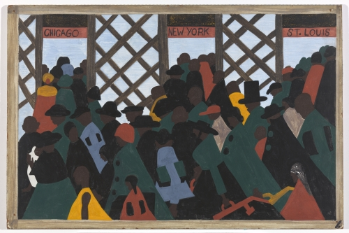 Jacob Lawrence. The Migration Series. 1940-41. Panel 1: During the World War there was a great migration North by Southern Negroes. Casein tempera on hardboard, 18 x 12 in (45.7 x 30.5 cm). The Phillips Collection, Washington D.C. Acquired 1942. © 2015 The Jacob and Gwendolyn Knight Lawrence Foundation, Seattle / Artists Rights Society (ARS), New York. Photograph courtesy The Phillips Collection, Washington D.C.