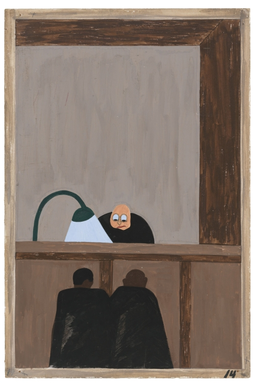 Jacob Lawrence. The Migration Series. 1940-41. Panel 14: Among the social conditions that existed which was partly the cause of the migration was the injustice done to the Negroes in the courts. Casein tempera on hardboard, 18 x 12 in (45.7 x 30.5 cm). The Museum of Modern Art, New York. Gift of Mrs. David M. Levy. © 2015 The Jacob and Gwendolyn Knight Lawrence Foundation, Seattle / Artists Rights Society (ARS), New York. Digital image © The Museum of Modern Art/Licensed by SCALA / Art Resource, NY