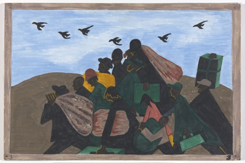 Jacob Lawrence. The Migration Series. 1940-41. Panel 3: In every town Negroes were leaving by the hundreds to go North and enter into Northern industry. Casein tempera on hardboard, 18 x 12 in (45.7 x 30.5 cm). The Phillips Collection, Washington D.C. Acquired 1942. © 2015 The Jacob and Gwendolyn Knight Lawrence Foundation, Seattle / Artists Rights Society (ARS), New York. Photograph courtesy The Phillips Collection, Washington D.C.