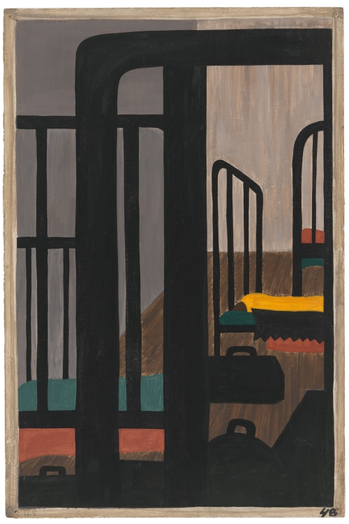Jacob Lawrence. The Migration Series. 1940-41. Panel 48: Housing for the Negroes was a very difficult problem. Casein tempera on hardboard, 18 x 12 in (45.7 x 30.5 cm). The Museum of Modern Art, New York. Gift of Mrs. David M. Levy. © 2015 The Jacob and Gwendolyn Knight Lawrence Foundation, Seattle / Artists Rights Society (ARS), New York. Digital image © The Museum of Modern Art/Licensed by SCALA / Art Resource, NY