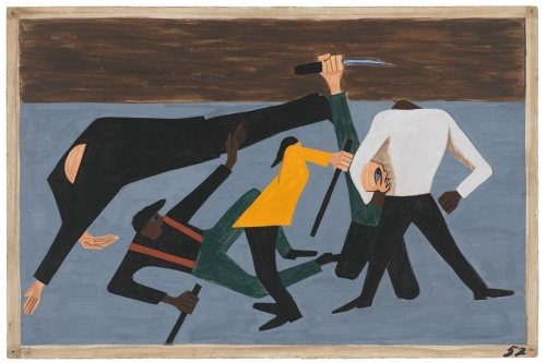Jacob Lawrence. The Migration Series. 1940-41. Panel 52: One of the largest race riots occurred in East St. Louis. 1941. Casein tempera on hardboard, 18 x 12 in (45.7 x 30.5 cm). The Museum of Modern Art, New York. Gift of Mrs. David M. Levy. © 2015 The Jacob and Gwendolyn Knight Lawrence Foundation, Seattle / Artists Rights Society (ARS), New York. Digital image © The Museum of Modern Art/Licensed by SCALA / Art Resource, NY