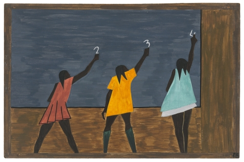 Jacob Lawrence. The Migration Series. 1940-41. Panel 58: In the North the Negro had better educational facilities. Casein tempera on hardboard, 18 x 12 in (45.7 x 30.5 cm). The Museum of Modern Art, New York. Gift of Mrs. David M. Levy. © 2015 The Jacob and Gwendolyn Knight Lawrence Foundation, Seattle / Artists Rights Society (ARS), New York. Digital image © The Museum of Modern Art/Licensed by SCALA / Art Resource, NY
