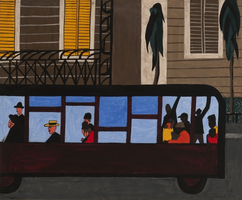 Jacob Lawrence. Bus, 1941. Gouache on paper, 18 5/16 x 21 7/8 in (47.8 x 55.6 cm). Collection of George Wein, Courtesy of Michael Rosenfeld Gallery LLC, New York, NY. © 2015 The Jacob and Gwendolyn Knight Lawrence Foundation, Seattle / Artists Rights Society (ARS), New York