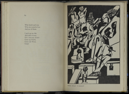 Spread from Langston Hughes, with woodcut by Jacob Lawrence. One Way Ticket. New York: A. A. Knopf, 1949. Collection Leon F. Litwack. Photograph courtesy Manuscript, Archives, and Rare Book Library, Emory University. © 2015 The Jacob and Gwendolyn Knight Lawrence Foundation, Seattle / Artists Rights Society (ARS), New York. Additional rights by permission of the Estate of Langston Hughes in care of Harold Ober Associates Incorporated