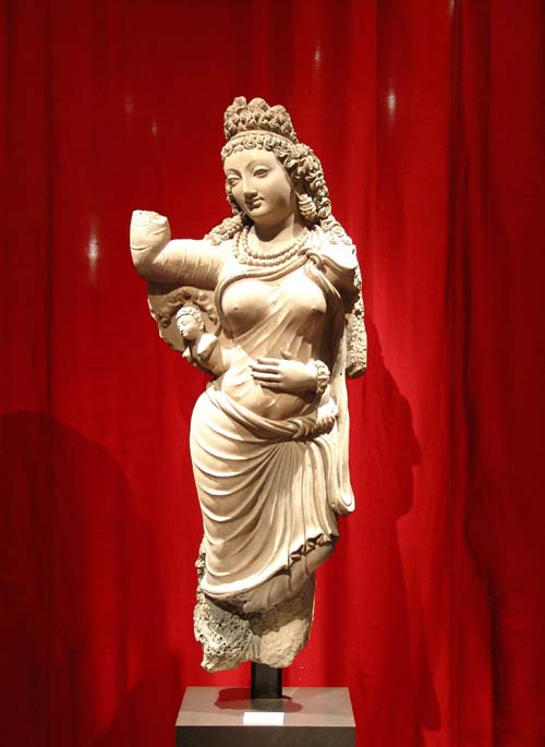 Maya, mother of Buddha. Gandhara region. 5th century. Terracotta H. 135 