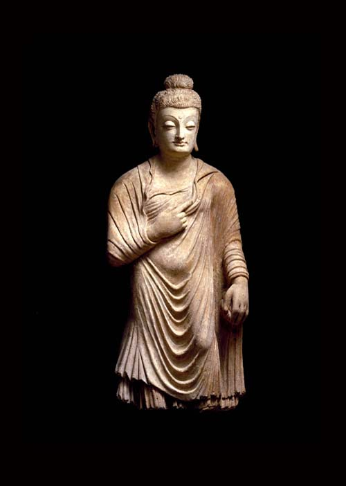 STANDING BUDDHA. Stucco, with polychrome. Pakistan/Afghanistan, Gandhara 