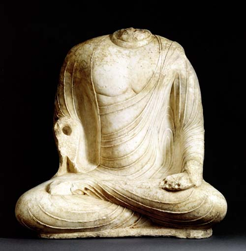 Marble Buddha, Seated in virasãna pose. Tang Dynasty, H. 31