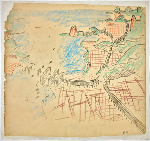 Le Corbusier (Charles-Édouard Jeanneret). Urban plan for Rio de Janeiro. 1929. Aerial perspective with Guanabara Bay, the centre and the beaches. Charcoal and pastel on paper. 76 x 80.5 cm. Fondation Le Corbusier, Paris. © 2013 Artists Rights Society (ARS), New York/ADAGP, Paris/FLC.
