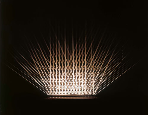 Julio Le Parc. Lumières alternées, 1993. Apparatus: painted wood, painted metal and controlled lights;