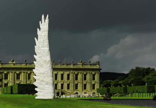 Christopher Le Brun. Maro, 2014. Nestos marble, 500 x 153 x 36 cm, (196⅞ x 60 x 14⅛ in). Inscribed CLB and numbered 1/3. Edition of 3. Installation view at BEYOND LIMITS, Sotheby's outdoor sculpture exhibition at Chatsworth, 8 September – 26 October 2014. Image courtesy Sotheby's.