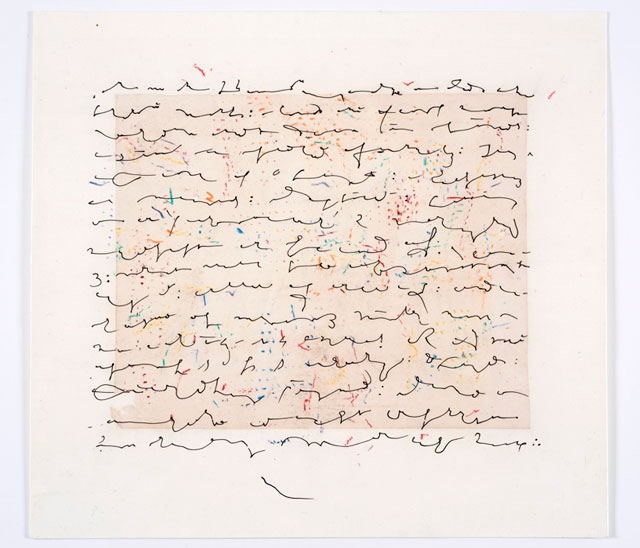 Simon Lewty. Abstract Script II, 2015. Ink and crayon on paper, 43.75 x 48 cm.