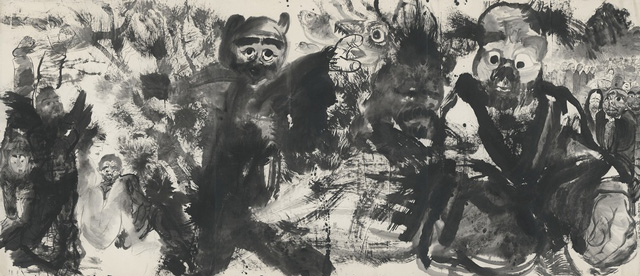 Li Jin 李津. Beings in Ink 自在墨法, 2016. Ink on paper 纸本水墨, 86 3/4 x 66 7/8 in (220.5 x 170 cm) x 3 pieces.