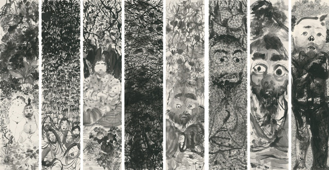 Li Jin 李津. Ink Adepts 墨道组画, 2016. Ink on paper 纸本水墨, 92 1/2 x 20 7/8 in (235 x 53 cm) x 8 pieces.
