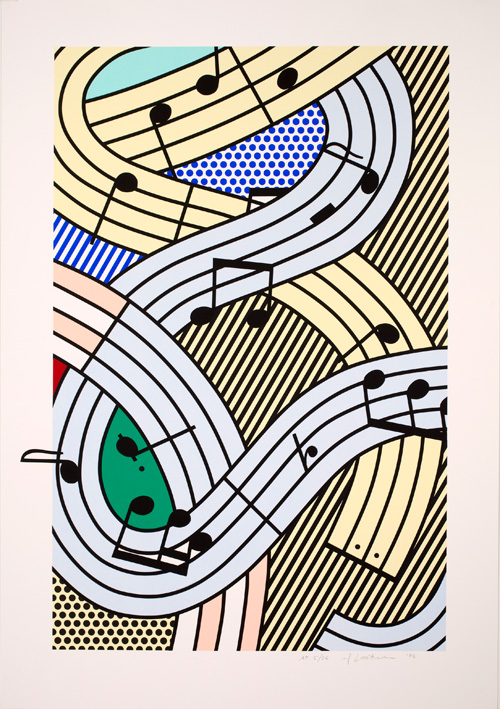 Roy Lichtenstein. Composition III, 1996. Screenprint on Lanaquarelle watercolour paper, 129.4 x 90.2 cm. Lent by The Roy Lichtenstein Foundation Collection 2015. © Estate of Roy Lichtenstein/DACS 2015.