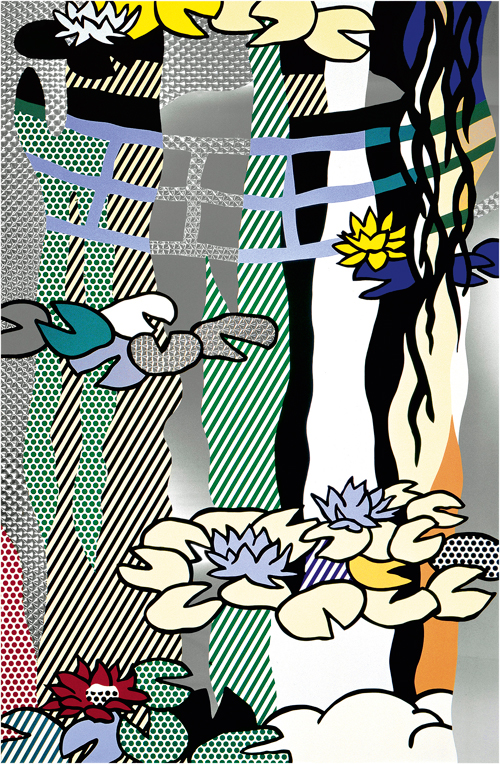 Roy Lichtenstein. Water Lilies with Japanese Bridge, 1992. Screenprinted enamel on stainless steel, painted aluminium frame, 211.5 x 147.3 cm. Lent by The Roy Lichtenstein Foundation Collection 2015. © Estate of Roy Lichtenstein/DACS 2015.
