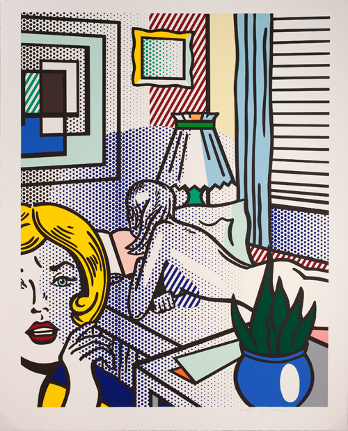 Roy Lichtenstein. Roommates, 1994. 20 colour relief print, 162.9 x 129.9 cm. Lent by The Roy Lichtenstein Foundation Collection 2015. © Estate of Roy Lichtenstein/DACS 2015.