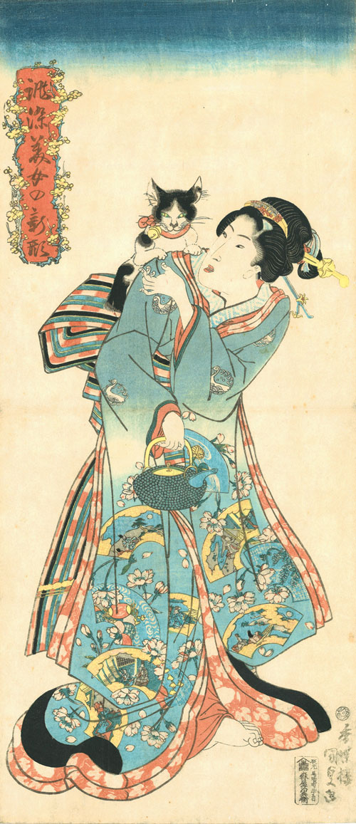 Utagawa Kunisada (1786–1864), Cat and Beauty from the series Beauties in New Styles Dyed to Order, 1818–30. Colour woodblock print; 36 7/8 x 22 3/8 in. Courtesy Hiraki Ukiyo-e Foundation.