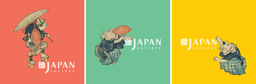 Admission stickers for the exhibition. The character cutouts are taken from Utagawa Hiroshige (1797–1858), Cat Crossing to Eat, 1830–44. Colour woodblock print, 36 7/8 x 22 3/8 in. Courtesy Hiraki Ukiyo-e Foundation.