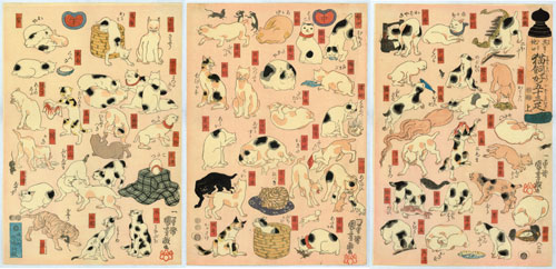Utagawa Kuniyoshi (1797–1861), Cats Suggested by the Fifty-three Stations of the Tōkaidō, 1847. Colour woodblock print; each sheet 14 5/8 x 10 in. Courtesy Private Collection, New York.