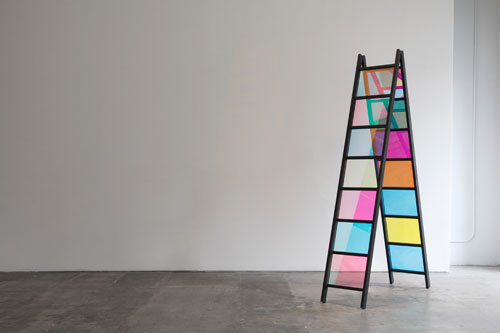 Stephen Dean. A Frame, 2013. Aluminium structure and dichroic glass, (14 panels of 11 1/4 x 14 3/4 in)