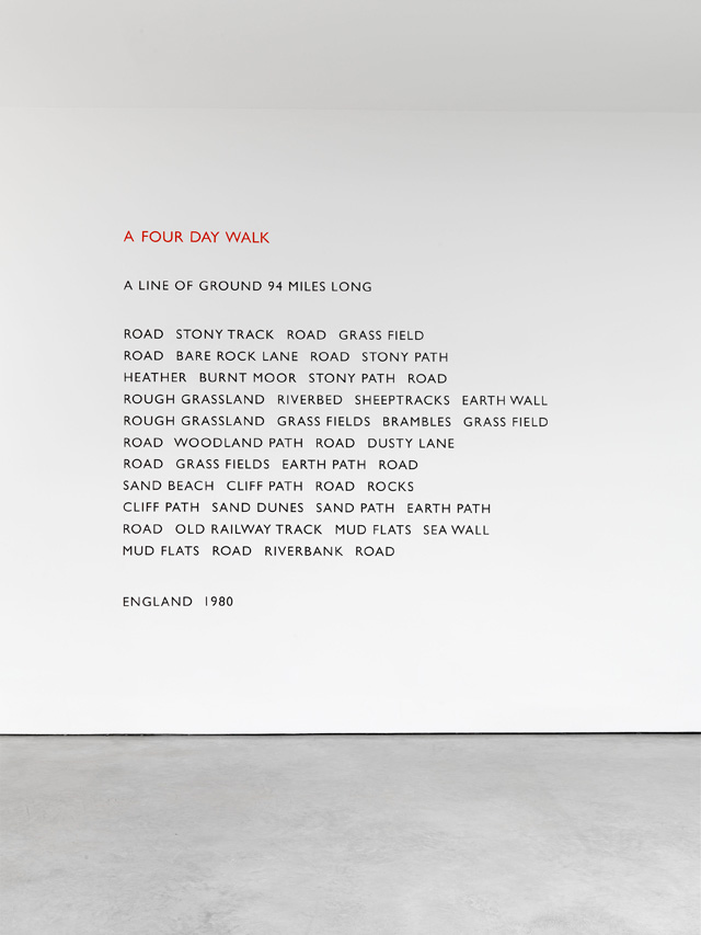 Richard Long. A Four Day Walk, 1980. Vinyl text on wall, in situ dimensions variable.