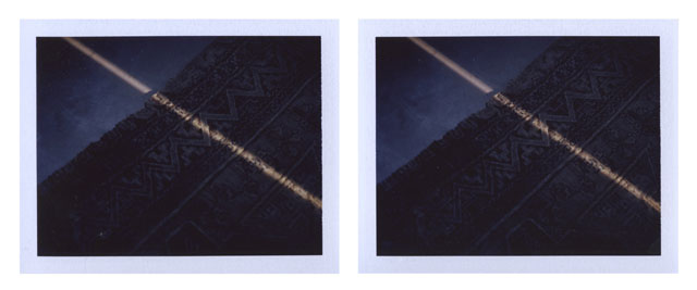 Peter Liversidge. Afternoon Sunlight, 2014. Pair of unique Fuji FP-100C photographs, image: 2 7/8 x 3 3/4 in (7.3 x 9.5 cm) each; Fuji: 3 3/8 x 4 1/4 in (8.5 x 10.8 cm) each. © Peter Liversidge. Courtesy: Sean Kelly, New York.