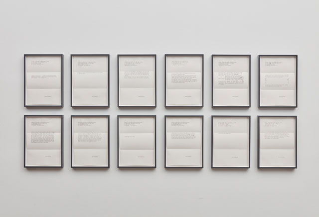 Peter Liversidge. Proposals for the Sean Kelly Gallery, 2016. A unique set of twelve framed typewritten proposals, paper: 11 3/4 x 8 1/4 in (29.8 x 21 cm) each; overall: 26 1/2 x 67 in (67.3 x 170.2 cm). © Peter Liversidge. Photograph: Jason Wyche, New York. Courtesy: Sean Kelly, New York.