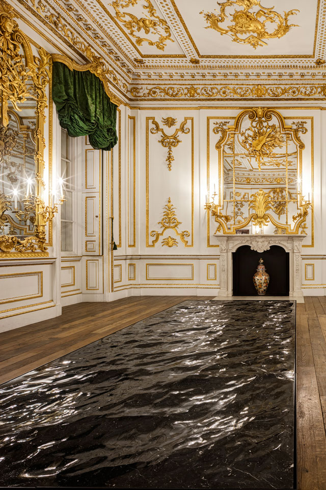 Liquid Marble by the multidisciplinary French designer Mathieu Lehanneur, in the historic setting of the V&A's Norfolk House Music Room.