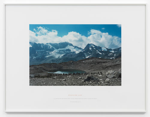 Richard Long. Engadine Line, 2013. Photographic print + text, 47.5 X 71.5 cm (plus text inscription beneath). © the artist; Courtesy, Lisson Gallery, London.