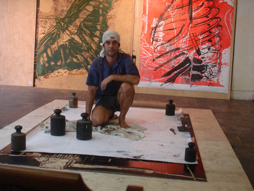 Fabricio Lopez in his studio in Santos. © Fabricio Lopez. Photograph: Everton Ballardin.