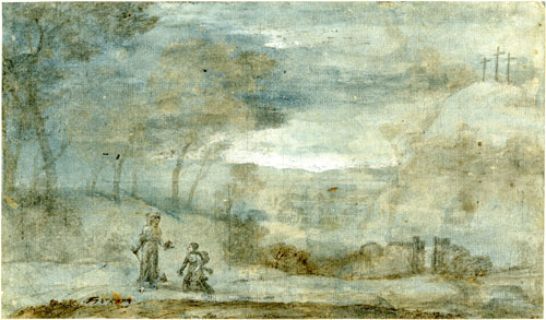 Claude Lorrain. <em>Landscape with Christ appearing to St Mary Magdalene,</em> 1681. Black chalk with pen, brown ink and brown wash on white paper, heightened with white body colour, 19.1 x 25.2 cm. British Museum.